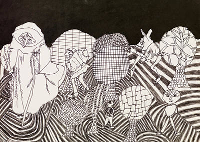 Psychedelic Characters Doodle Art Print By Dan Comaniciu