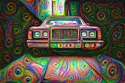 Mixed Media - Psychedelic Deep Dream Car by Matthias Hauser