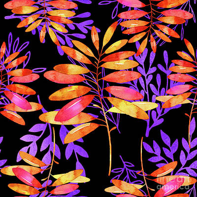 Nature Study Digital Art - Psychedelic Fall, Vibrant Fall Leaves Nature Pattern by Tina Lavoie