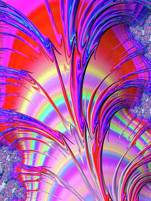 Red Abstract Digital Art - Psychedelic Fractal Art With Trippy Colors by Matthias Hauser
