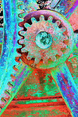 Psychedelic Gears Art Print by Phyllis Denton
