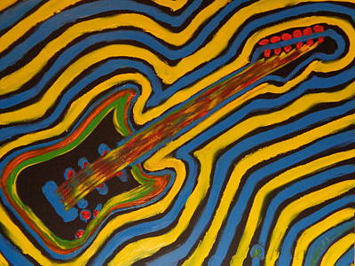 Psychedelic Guitar Finger Painted Painting Original