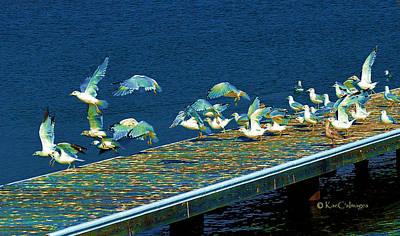 Digital Art - Psychedelic Gulls by Kae Cheatham