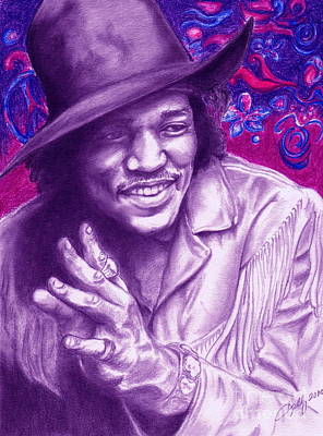 Colored Pencil Portrait Drawing - Psychedelic Jimi by Kathleen Kelly Thompson