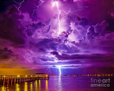 Photograph - Psychedelic Lightning Seascape by Stephen Whalen