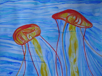 Art Print featuring the painting Psychedelic Lion's Mane Jellyfish by Erika Swartzkopf