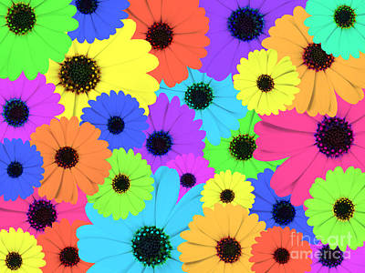 Blooming Digital Art - Psychedelic Marigold Flowers by Jose Elias - Sofia Pereira