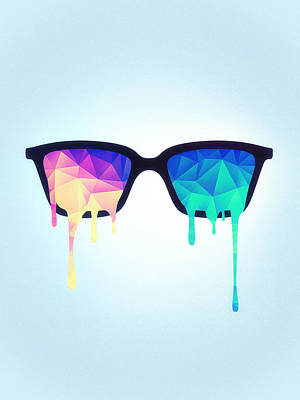 Trippy Digital Art - Psychedelic Nerd Glasses With Melting Lsd Trippy Color Triangles by Philipp Rietz