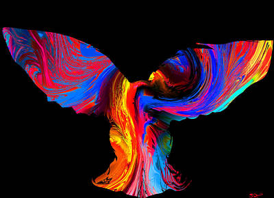 Psychedelic Owl Silhouette Art Print by Abstract Angel Artist Stephen K