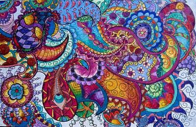 Drawing - Psychedelic Paisley by Megan Walsh