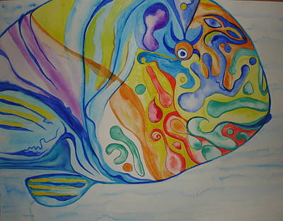 Parrotfish Painting - Psychedelic Parrotfish by Erika Swartzkopf