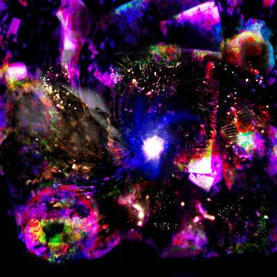 Psychedelic Rainbow Nebula Galaxy Universe Art Print by Abram Lopez