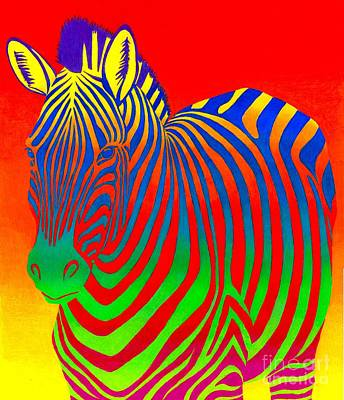 Colored Pencil Abstract Drawing - Psychedelic Rainbow Zebra by Rebecca Wang
