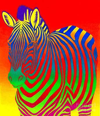 Psychedelic Rainbow Zebra Art Print