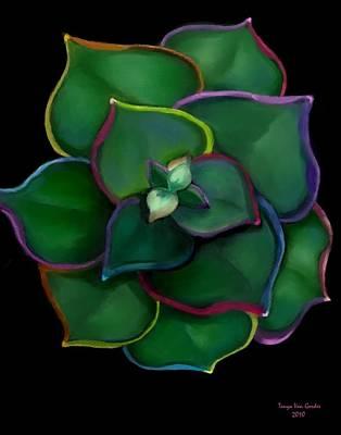 Succulent Digital Art - Psychedelic Succulent by Tanya Van Gorder