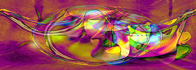 Print featuring the digital art Psychedelic Sun by Linda Sannuti