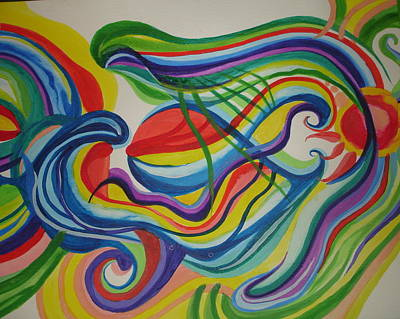 Art Print featuring the painting Psychedelic Swim by Erika Swartzkopf
