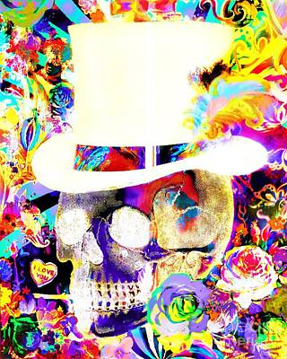 Wall Art - Painting - Psychedelic Top Hat Skull by E Bradshaw