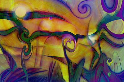 Abstract Hearts Digital Art - Psychedelic Valley by Linda Sannuti