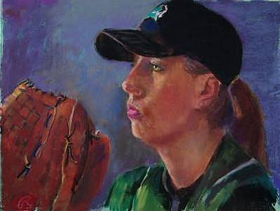 Baseball Pastel Painting - Psyching Out The Batter   Sold by Barbara Noonan