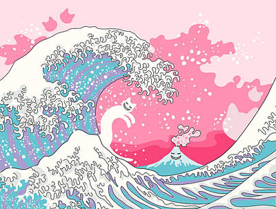 Candy Digital Art - Psychodelic Bubblegum Kunagawa Surfer Cat by Julia Jasiczak