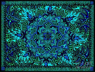 Drawing - Psyformation Green Hue by Baruska A Michalcikova