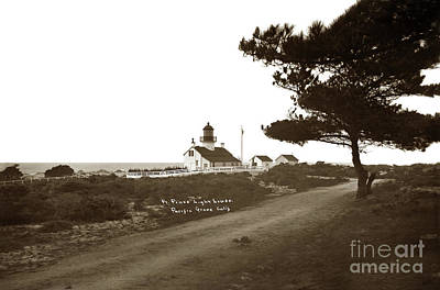 Photograph - Pt. Pinos Lighthouse,  Pacific Grove Circa 1895 by California Views Mr Pat Hathaway Archives