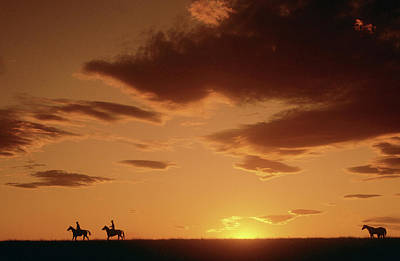 Photograph - Cowboys At Sunset In Montana by Carl Purcell