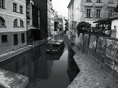 Photograph - Prague Canal Bw by C H Apperson