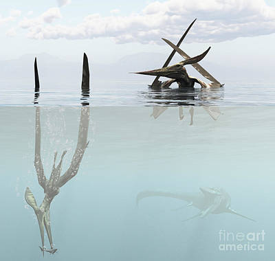 Animals Digital Art - Pteranodon Pterosaur Diving Underwater by Arthur Dorety