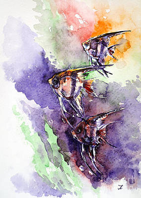 Painting - Pterophyllums by Zaira Dzhaubaeva