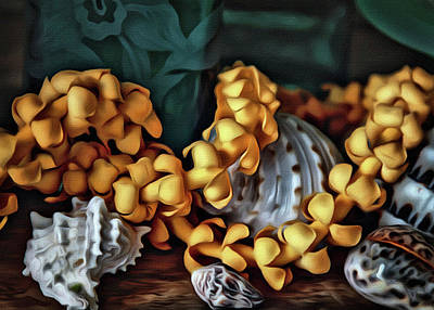 Floral Photograph - Puakenikeni Lei And Seashells by Jade Moon