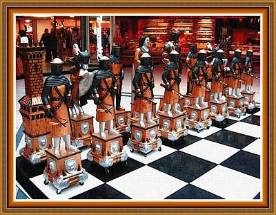 Modern Sophistication Beaches And Waves - Public Chessboard H B With Decorative Ornate Printed Frame. by Gert J Rheeders