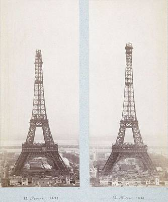 Paris Skyline Paintings - Public-domain-images-eiffel-tower-construction-1800s-0005 by Celestial Images