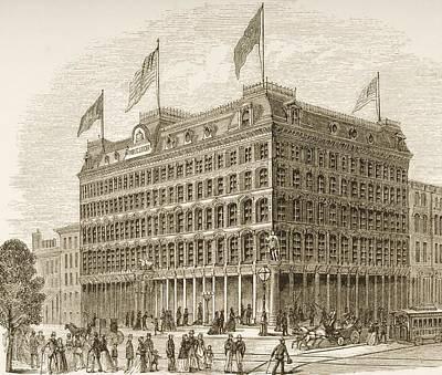 Pennsylvania Drawing - Public Ledger Building Philadelphia by Vintage Design Pics