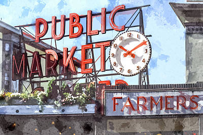 American Food Painting - Public Market Neon Sign In Seattle Washington by Elaine Plesser