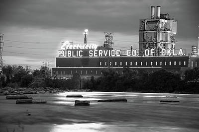 Photograph - Public Service Co. Of Oklahoma - Tulsa - Black And White by Gregory Ballos