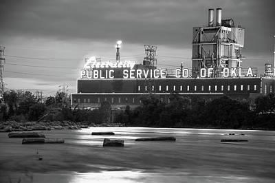 Photograph - Public Service Co. Of Oklahoma - Tulsa - Black And White by Gregory Ballos
