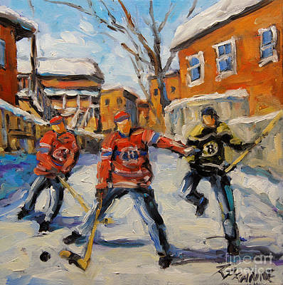 Hockey Player Painting - Puck Control Hockey Kids Created By Prankearts by Richard T Pranke