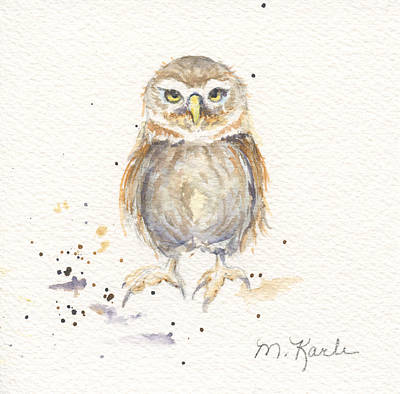 Painting - Puck - Little Owl by Marsha Karle
