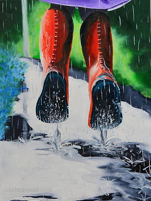 Painting - Puddle Jumping by Jake Brown