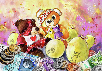 Painting - Pudsey And Truffle Mcfurry For Children In Need by Miki De Goodaboom