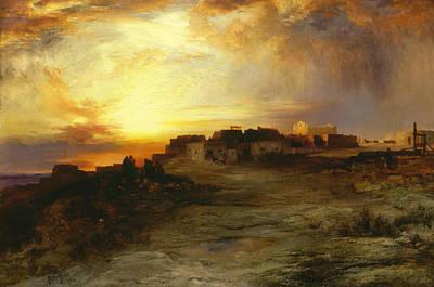 Pueblo Painting - Pueblo At Sunset  by Thomas Moran