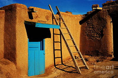 Photograph - Taos Pueblo - Door And Ladder by Jacqueline M Lewis