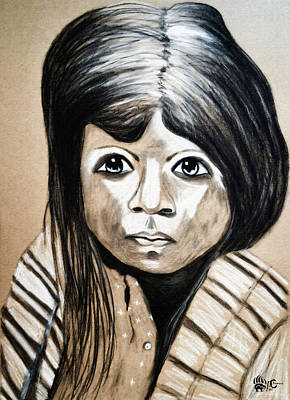 Pueblo Drawing - Pueblo Girl by Ayasha Loya