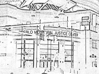 Pueblo Municipal Justice Center 2 Art Print by Lenore Senior
