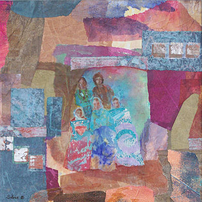 Collage Wall Art - Painting - Pueblo Women At The Dance by MtnWoman Silver