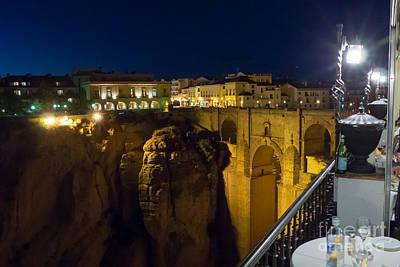 Photograph - Puente Nuevo Bridge At Night 2 by Rod Jones