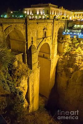 Photograph - Puente Nuevo Bridge At Night by Rod Jones