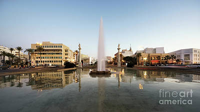 Photograph - Puerta De Tierra Fountain At Twilight Cadiz Spain by Pablo Avanzini
